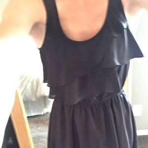 Bcbg black ruffle dress with pockets size small